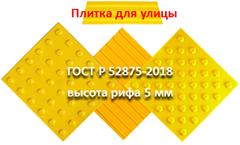 Плитка для улицы  ГОСТ Р 52875-2018 высота рифа 5мм