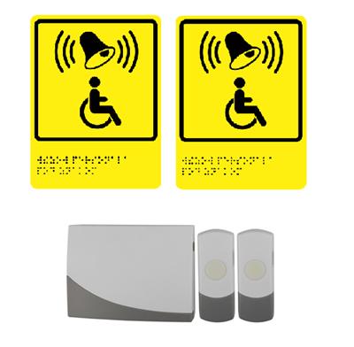 2 Кнопки вызова персонала для инвалидов (с 1 приемником и 2 табличками) Э91-2 - фото 16006