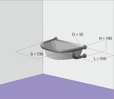 Поручень для полукруглой раковины настенный - фото 7185