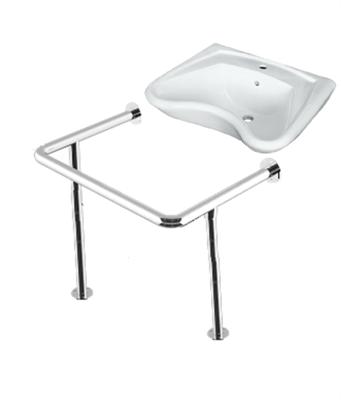 Комплект: раковина для инвалидов DS Y1 635х556х250мм с опорным поручнем - фото 7729