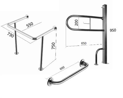 Комплект из 3-х поручней № 2 (R-образный, прямой, для раковины) для санитарно-гигиенических комнат - фото 7736