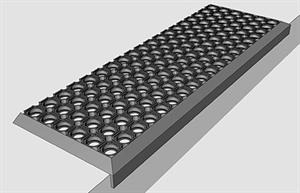 Противоскользящая резиновая накладка на ступени (черная, ячеистая) 750х250мм