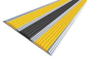 Противоскользящая алюминиевая накладка с 3-мя резиновыми вставками, 133 см