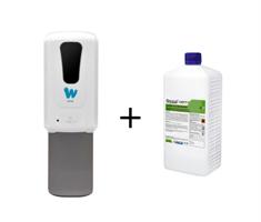 """Комплект """"Бесконтактный дозатор для спиртовых антисептиков 1200мл +Кожный антисептик для рук Флора-септ"""""""
