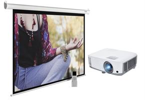 Комплект: проектор и проекционный экран настенно-потолочный