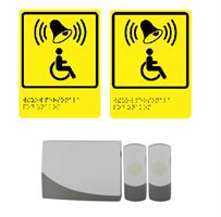 2 Беспроводные кнопки вызова персонала для инвалидов (с 1 приемником и 2 табличками) Э91-2