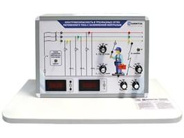 """Комплект учебно-лабораторного оборудования """"Электробезопасность в трехфазных сетях переменного тока с заземленной нейтралью"""" ЭТСПТ- ЗН (адаптированный для людей с ограниченными возможностями)"""