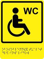 """Тактильно-визуальный знак """"Туалет для инвалидов """" ГОСТ Р 521131, ПВХ 3мм"""