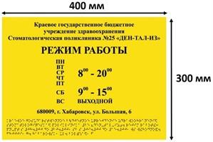 Тактильные таблички / вывески с азбукой Брайля 300х400мм ПВХ
