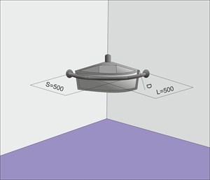 Поручень угловой для полукруглой раковины настенного крепления 500мм
