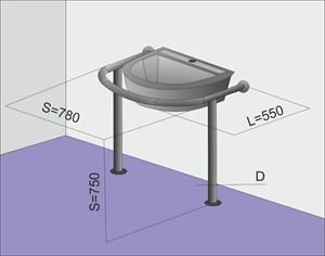 Поручень на стойках для круглой/полукруглой раковины