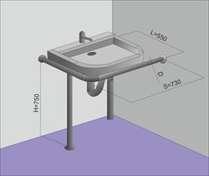Поручень на стойке для угловой раковины