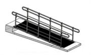 Стационарный пандус с поручнями из конструкционной стали и двумя ригелями