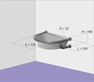 Поручень для полукруглой раковины настенный