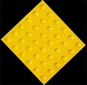 Плитка тактильная тротуарная (полиуретановая, 500х500х6 мм, конусообразные (л) рифы)