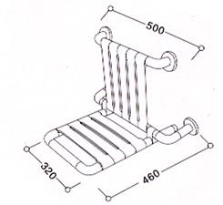 Сиденье для душа, желтое 32х46 см