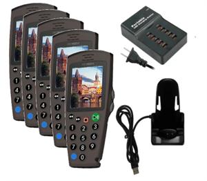Комплект: 5 аудиогидов С7 + зарядное устройство на 5 трубок + 1 слот для загрузки контента