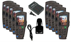 Комплект: 10 аудиогидов С7 + зарядное устройство на 10 трубок + 1 слот для загрузки контента