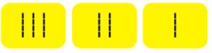 Комплект для маркировки поручней (окончание поручней-комплект из 3 наклеек: I, II, III, цвет желтый)